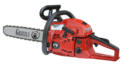 Photo of a red chainsaw on a white backdrop