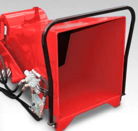 Photo of a Grizzly chipper feed hopper hydraulically feed.