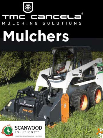 Mulchers being used to chip wood.