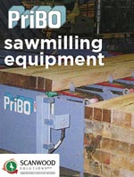 PriBO sawmilling equipment logo against logs.